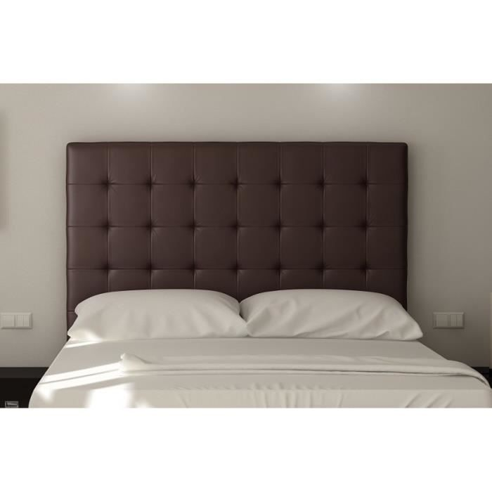 sogno t te de lit capitonn e simili marron l 140 cm achat vente t te de lit sogno t te. Black Bedroom Furniture Sets. Home Design Ideas