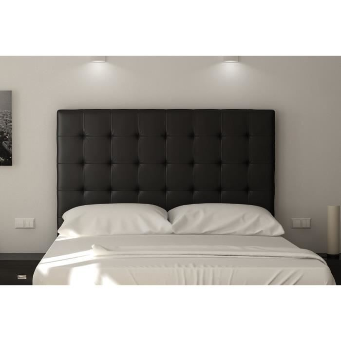 sogno t te de lit capitonn e simili noir l 140 cm achat vente t te de lit sogno t te de. Black Bedroom Furniture Sets. Home Design Ideas