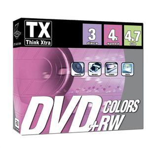CD - DVD VIERGE TX Pack de 3 DVD+RW 4x Couleurs