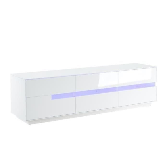 dallas meuble tv avec clairage led 160 cm laqu blanc brillant achat vente meuble tv. Black Bedroom Furniture Sets. Home Design Ideas
