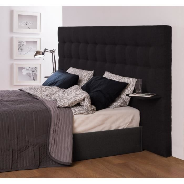 note t te de lit 2 tablettes 200 cm tissu noir achat vente t te de lit note t te de lit 200. Black Bedroom Furniture Sets. Home Design Ideas