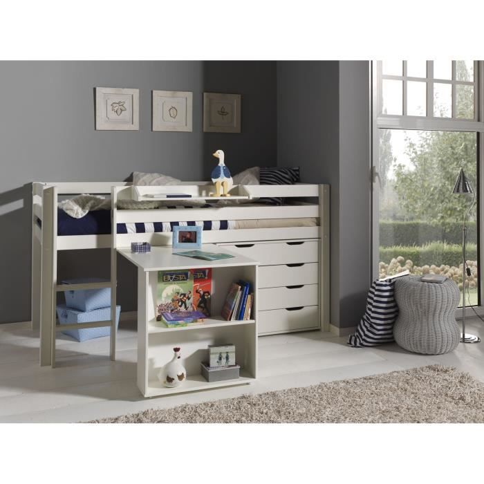 pino lit mezzanine bureau commode 4t blanc achat vente lit mezzanine pino ensemble 3. Black Bedroom Furniture Sets. Home Design Ideas