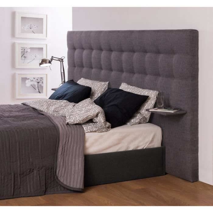 note t te de lit 2 tablettes 200 cm gris clair achat vente t te de lit note t te de lit 200. Black Bedroom Furniture Sets. Home Design Ideas