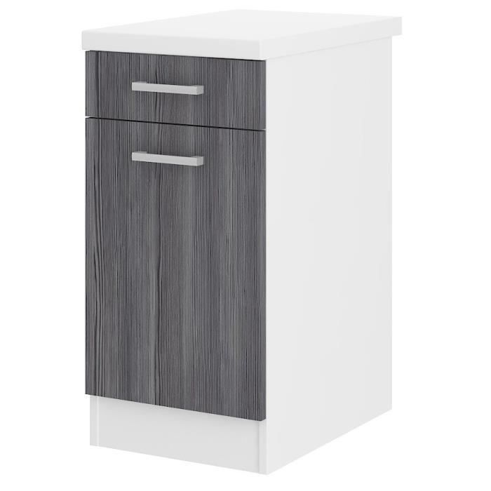 ultra meuble bas de cuisine 40 cm avec plan de travail inclus d cor ch ne gris achat vente. Black Bedroom Furniture Sets. Home Design Ideas