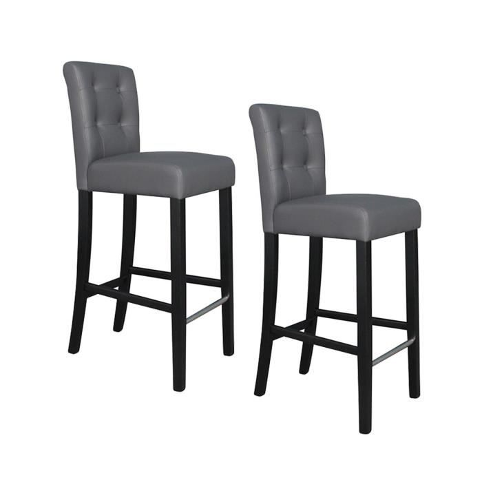 elvis lot de 2 tabourets de bar en simili bouto achat vente tabouret de bar gris. Black Bedroom Furniture Sets. Home Design Ideas