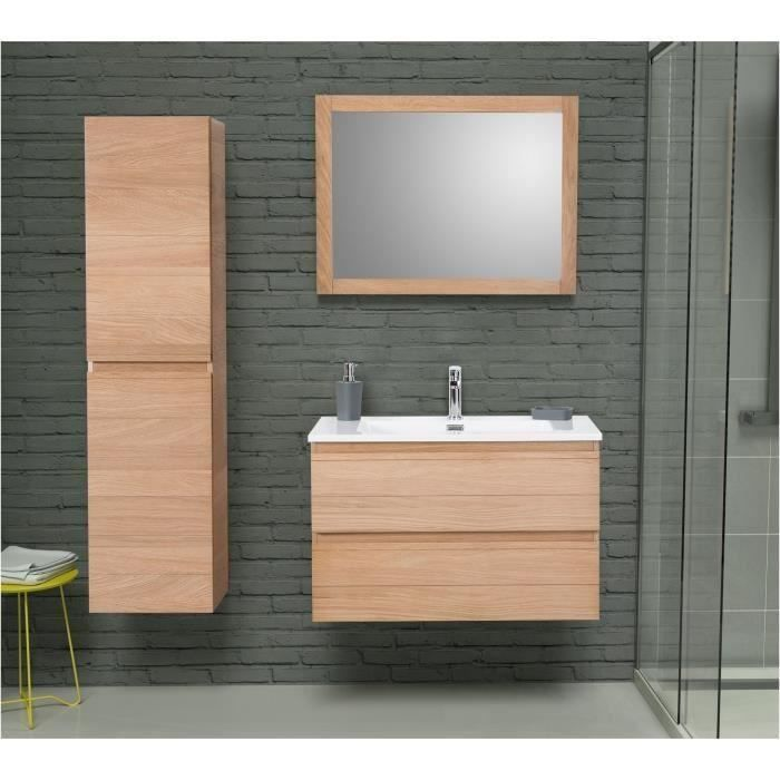 graphika ensemble salle de bain en bois ch ne massif simple vasque l 80 cm avec miroir bois. Black Bedroom Furniture Sets. Home Design Ideas