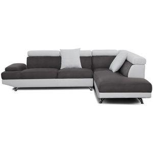 CANAPÉ - SOFA - DIVAN SCOOP Canapé d'angle droit 4 places - Tissu gris e