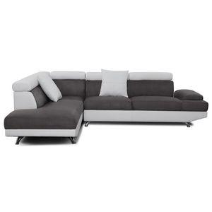 CANAPÉ - SOFA - DIVAN SCOOP Canapé d'angle gauche 4 places - Tissu gris