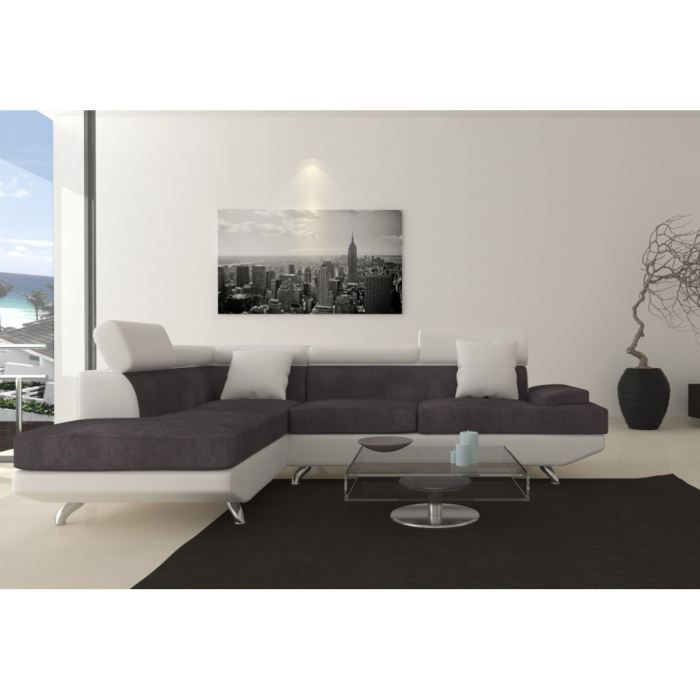 scoop fixe canap angle gauche 4 places simili et tissu blanc gris achat vente canap sofa. Black Bedroom Furniture Sets. Home Design Ideas