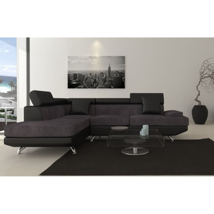 scoop fixe canap angle gauche 4 places simili et tissu noir gris achat vente canap sofa. Black Bedroom Furniture Sets. Home Design Ideas
