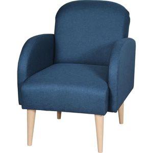 FAUTEUIL LORENS Fauteuil - Tissu Bleu Paon - L 70  x P 62 x