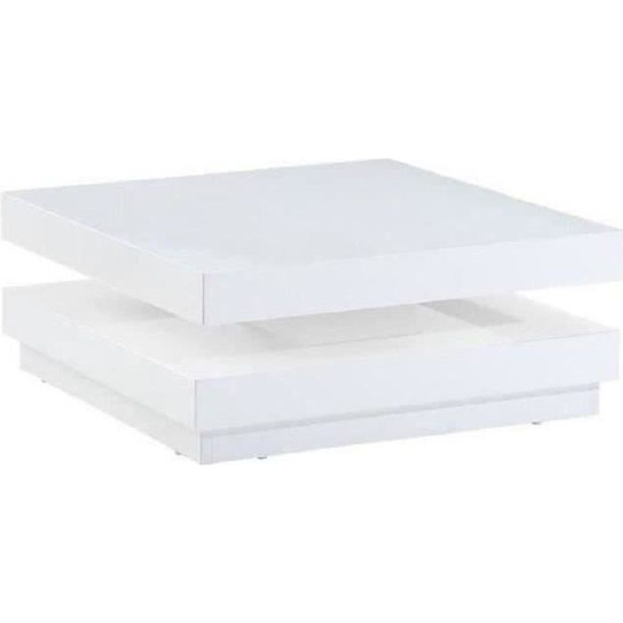 Vegas table basse 75x75cm laqu blanc brillant achat for Tapis pour table basse