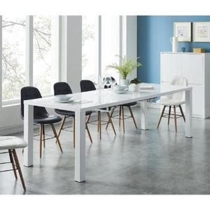table salle a manger laque blanc avec rallonges achat vente pas cher. Black Bedroom Furniture Sets. Home Design Ideas