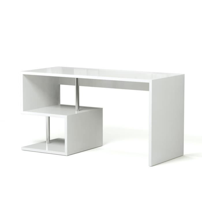 esse bureau asym trique contemporain laqu blanc l 140 cm achat vente bureau esse bureau. Black Bedroom Furniture Sets. Home Design Ideas
