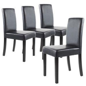 CHAISE CLARA Lot de 4 Chaises de salle à manger noires