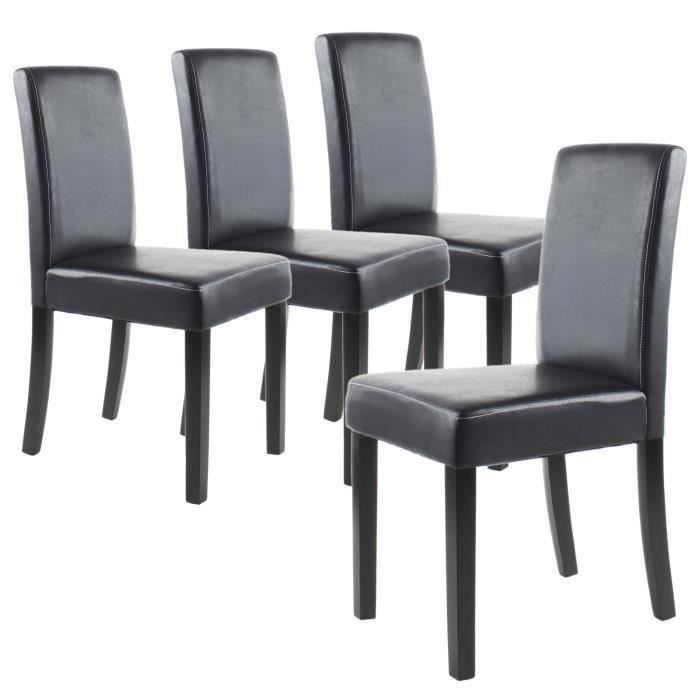 clara lot de 4 chaises de salle manger noires achat. Black Bedroom Furniture Sets. Home Design Ideas