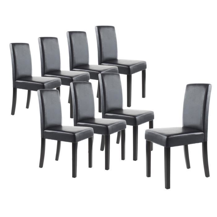 Clara lot de 8 chaises salon noir achat vente chaise for Chaise salon noir