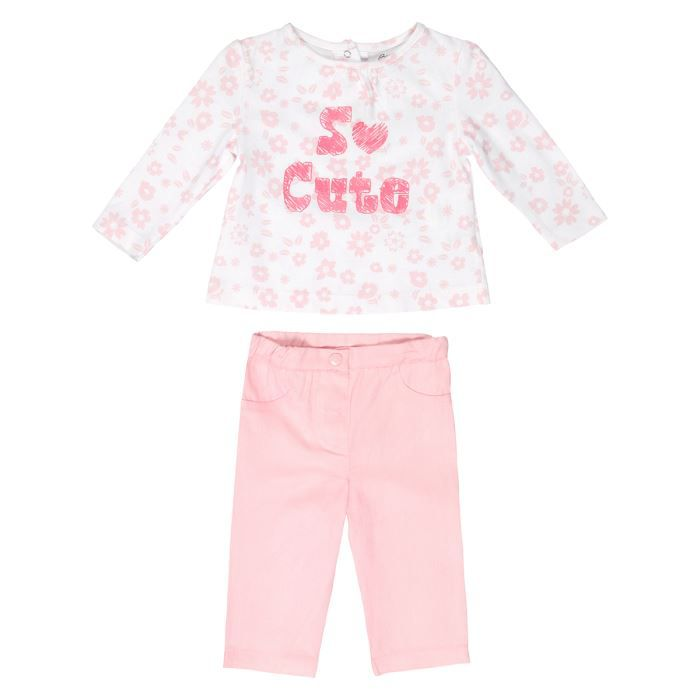 bebe reve ensemble t shirt et pantalon b b fille blanc et rose achat vente ensemble de. Black Bedroom Furniture Sets. Home Design Ideas