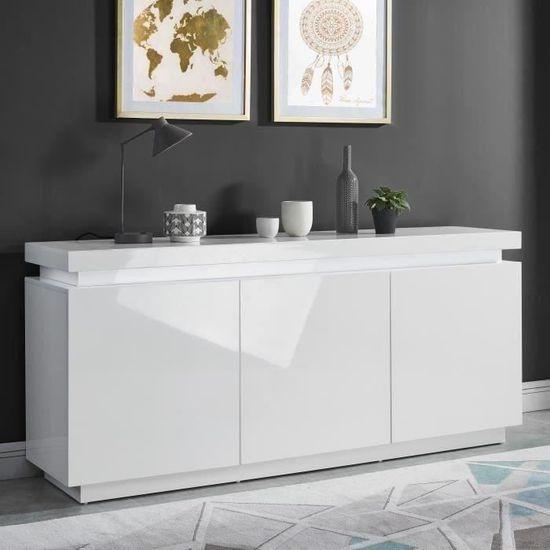 ODYSSEE Buffet bas LED contemporain blanc laqué brillant - L 170 cm