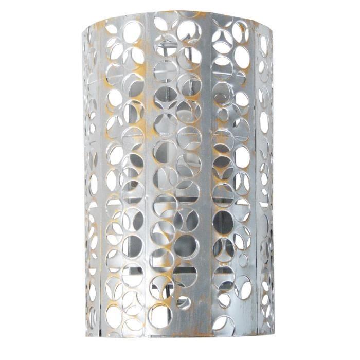 APPLIQUE  Applique métal perforé demi cylindre  E27 60 W Gri
