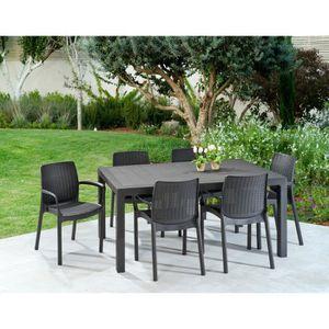SALON DE JARDIN  KETER Ensemble table de jardin Melody 160 cm + 6 f
