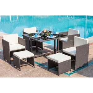table chaise jardin resine tressee - achat / vente table chaise ... - Table Et Chaise De Jardin En Resine Tressee