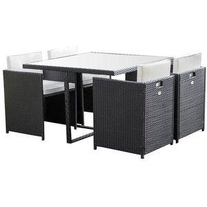 Ensemble table et chaise de jardin DELTA Ensemble repas de jardin resine tressée - Ta