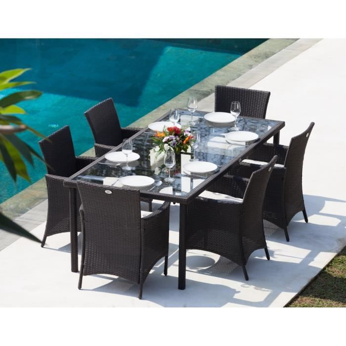 ensemble table de jardin 220cm et 6 fauteuils r sine tress e gris anthracite achat vente. Black Bedroom Furniture Sets. Home Design Ideas