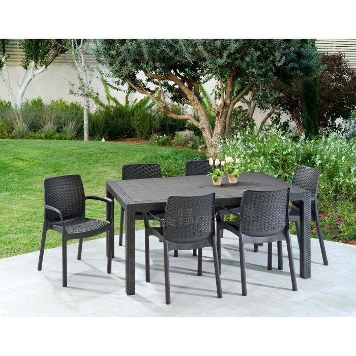 KETER Ensemble table de jardin Melody 160 cm + 6 fauteuils Bali imitation  résine tressée - Graphite