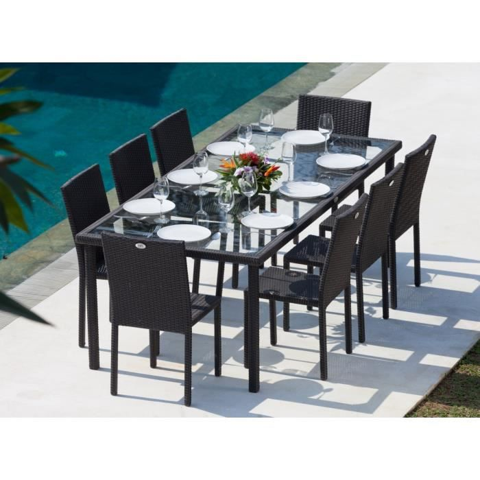 Cancun ensemble table de jardin 220 cm et 8 chaises r sine for Table exterieur carrefour