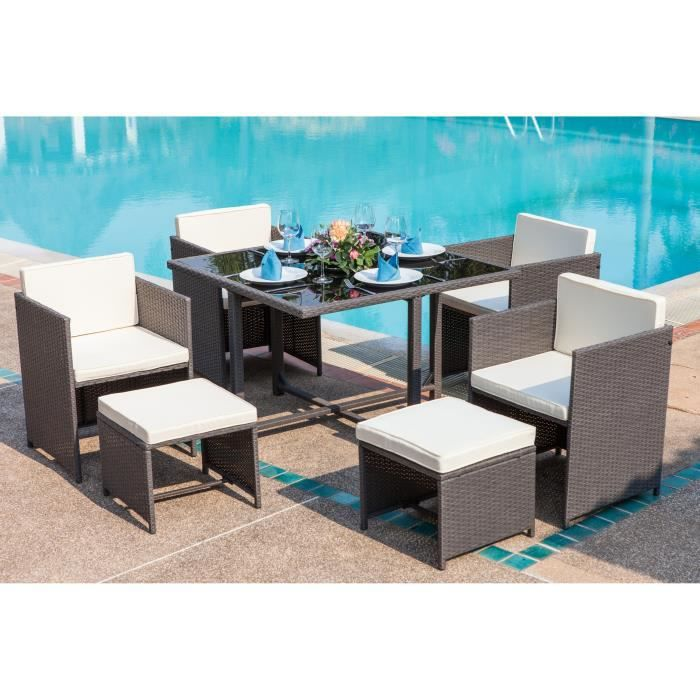 Salon de jardin Carioca 4 fauteuils et 2 poufs en résine ...