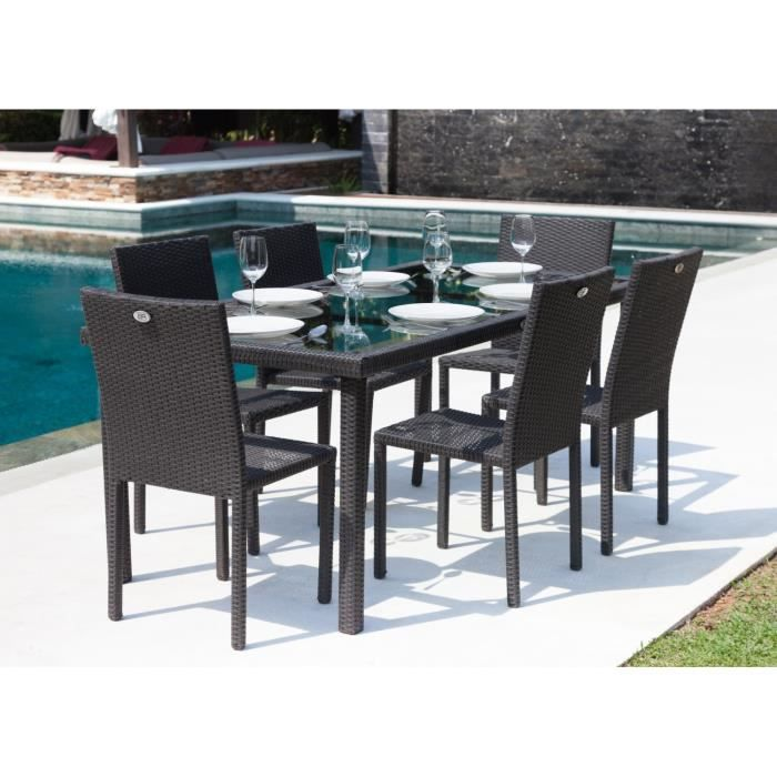 Ibiza ensemble table de jardin 180 cm et 6 chaises r sine tress e gris anthra - Ensemble table de jardin ...