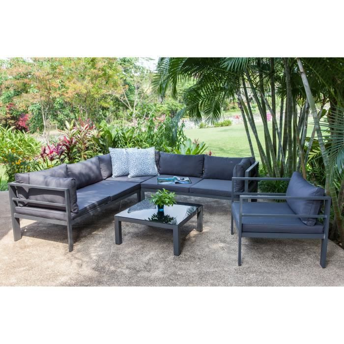 Salon de jardin mojito 1 table basse 2 canap s et2 for Salon resine tressee gris anthracite