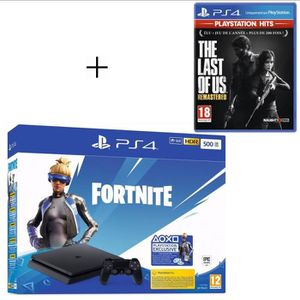 CONSOLE PS4 Pack PlayStation : PS4 Slim 500 Go Noire + The Las