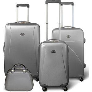 SET DE VALISES KINSTON Set 3 valises 4 roues + Vanity Gris clair