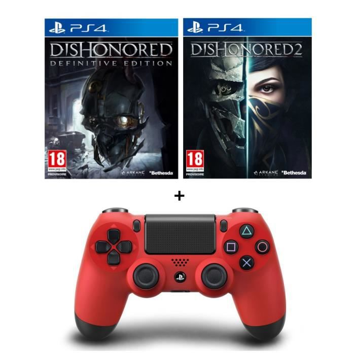 dishonored 2 dishonored definitive edition dlc manette dualshock 4 rouge achat vente. Black Bedroom Furniture Sets. Home Design Ideas