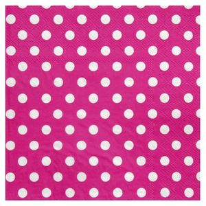 ASSIETTE JETABLE SANTEX Serviette de Table Pois Fuchsia