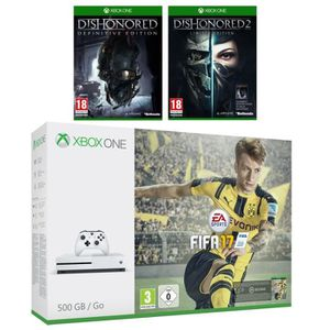 CONSOLE XBOX ONE NOUV. Xbox One S 500 Go + FIFA 17 + Dishonored 2 Limited