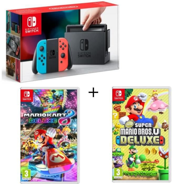 CONSOLE NINTENDO SWITCH Pack Nintendo Switch Néon + New Super Mario Bros U