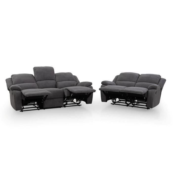 relax ensemble canap s 3 places 2 places relaxation tissu gris achat vente canap sofa. Black Bedroom Furniture Sets. Home Design Ideas