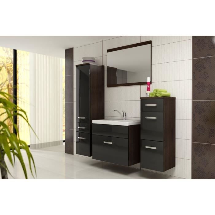 bali ensemble salle de bain simple vasque l 60 cm noir. Black Bedroom Furniture Sets. Home Design Ideas