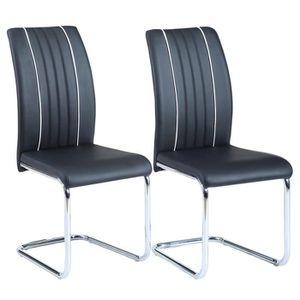 CHAISE INES Lot de 2 chaises de salle à manger - Simili n