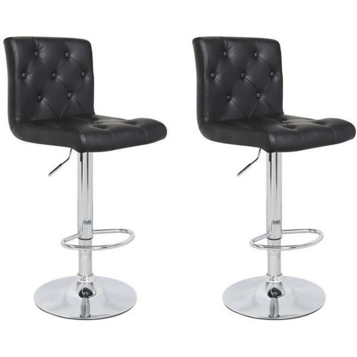 chester lot de 2 tabourets de bar en simili noir achat vente tabouret de bar noir structure. Black Bedroom Furniture Sets. Home Design Ideas