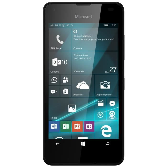 microsoft lumia 550 ds noir 4g achat smartphone pas. Black Bedroom Furniture Sets. Home Design Ideas