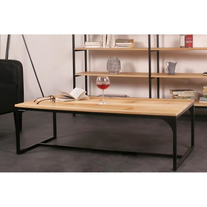 Finlandek table basse teollinen 120x60 cm en m tal et bois for Table de salon en chene