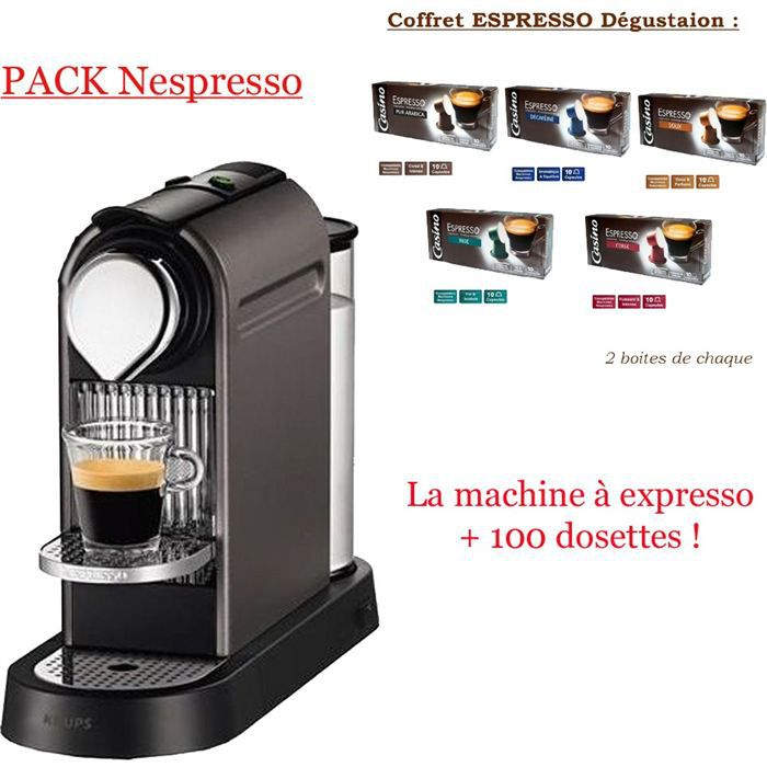 pack nespresso machine dosettes achat vente machine expresso prix mini soldes d. Black Bedroom Furniture Sets. Home Design Ideas