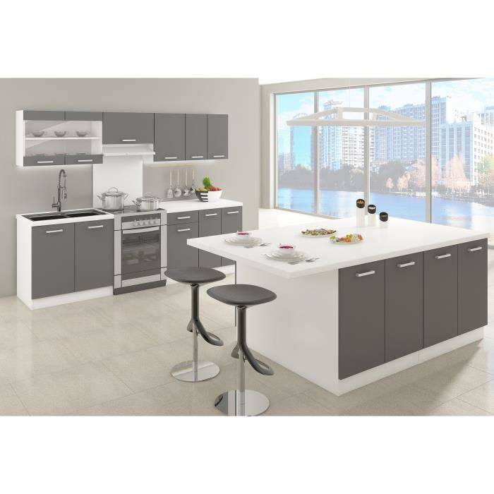 ultra ilot de cuisine 200 cm gris achat vente ilot central alceo ilot de cuisine cdiscount. Black Bedroom Furniture Sets. Home Design Ideas