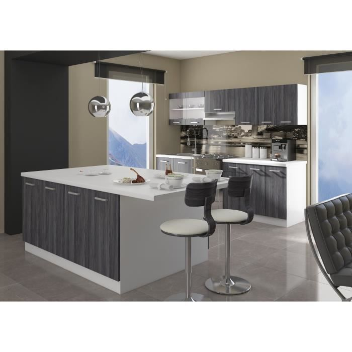 ultra ilot de cuisine 2 m d cor ch ne gris achat vente ilot central bodega ilot de cuisine. Black Bedroom Furniture Sets. Home Design Ideas
