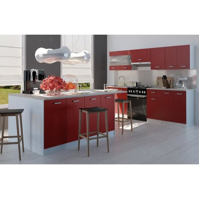 ultra ilot de cuisine 2 m rouge achat vente ilot central carmen ilot de cuisine cdiscount. Black Bedroom Furniture Sets. Home Design Ideas