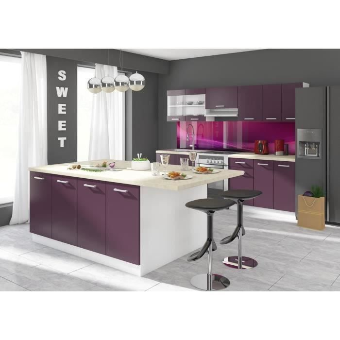 ultra ilot de cuisine l 200 cm avec plan de travail aubergine mat achat vente ilot central. Black Bedroom Furniture Sets. Home Design Ideas